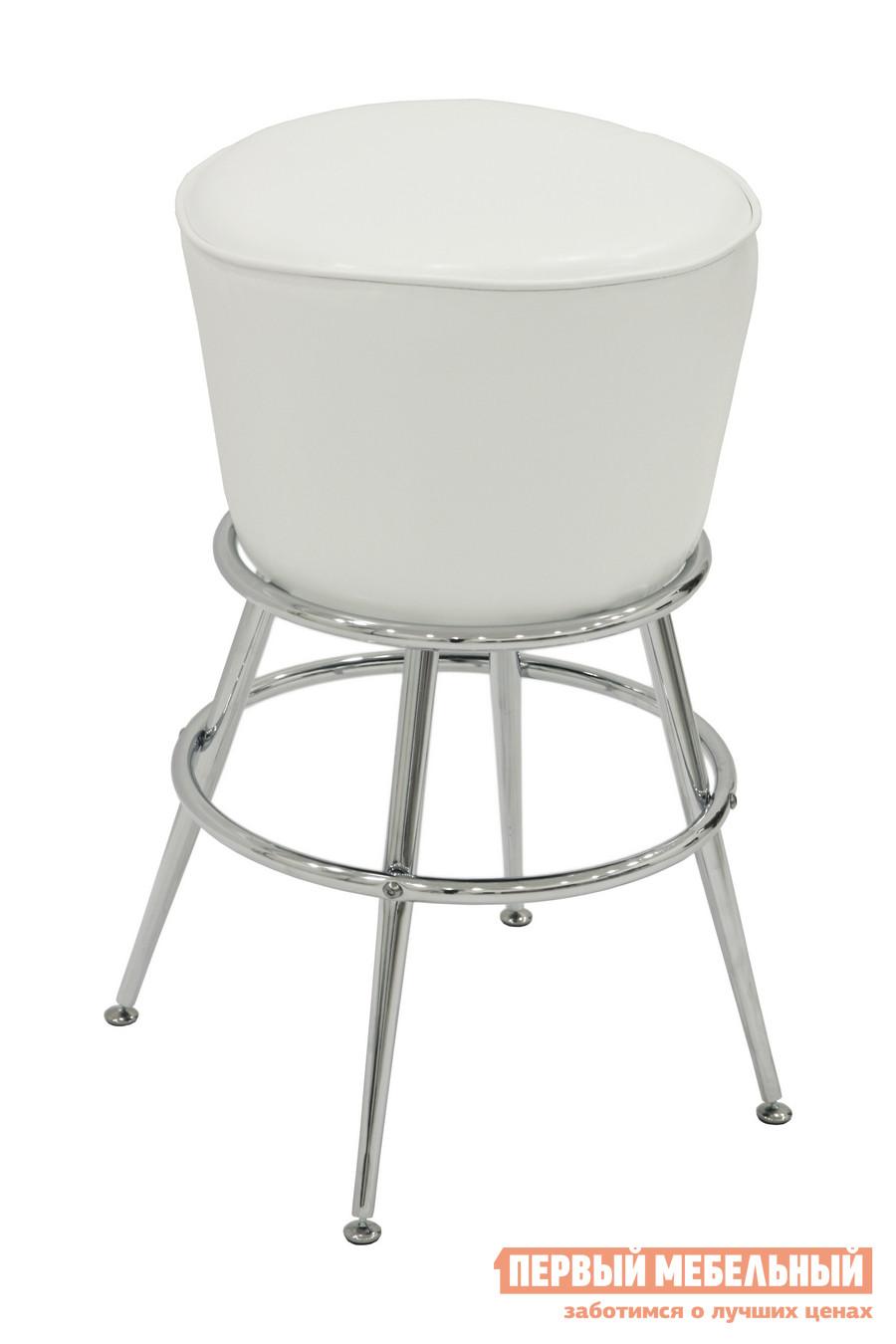 Барный стул Бентли Трейд JY-6016 SHINY WHITEБарные стулья<br>Габаритные размеры ВхШхГ 740x430x430 мм. Оригинальный мягкий барный стул.  За счет четырех ножек модель устойчива.  Под сидением есть удобное кольцо для ног. Обивка сиденья выполнена из эко-кожи, каркас металлический.  Максимальная нагрузка на стул составляет 120 кг.<br><br>Цвет: SHINY WHITE<br>Цвет: Белый<br>Высота мм: 740<br>Ширина мм: 430<br>Глубина мм: 430<br>Форма поставки: В разобранном виде<br>Срок гарантии: 6 месяцев<br>Тип: Для кухни, Нерегулируемые, Высота сиденья 701-800мм<br>Материал: Металлические, из искусственной кожи<br>Форма: Круглые<br>Особенности: С мягким сиденьем, С четырьмя ножками, Без спинки