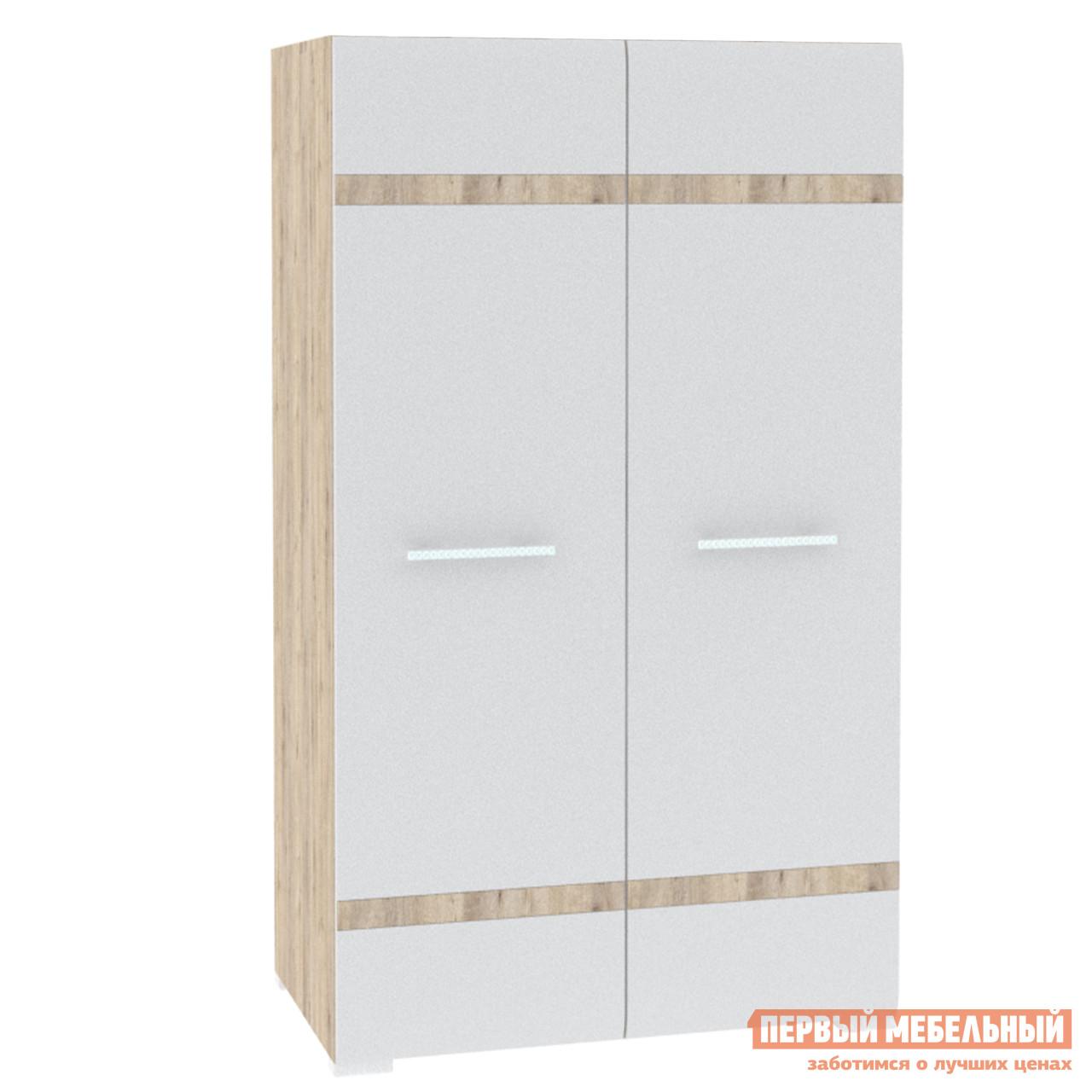 Шкаф распашной  Шкаф 2 двери 800*470*1400 ВЕРСАЛЬ Белый глянец / Дуб сонома