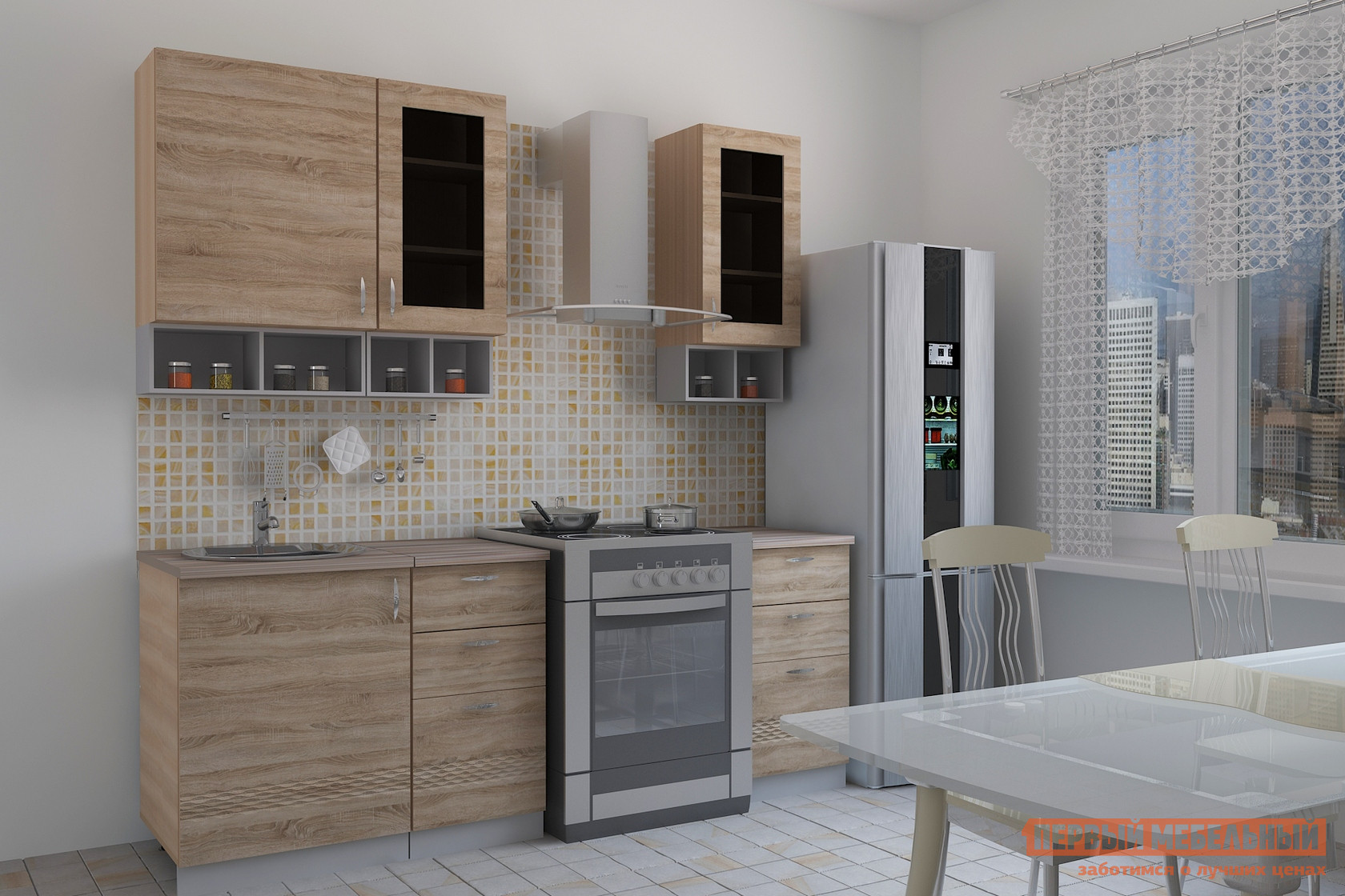 Кухонный гарнитур  Тоскана 4 (quarto) Мадейра / Ясень светлый