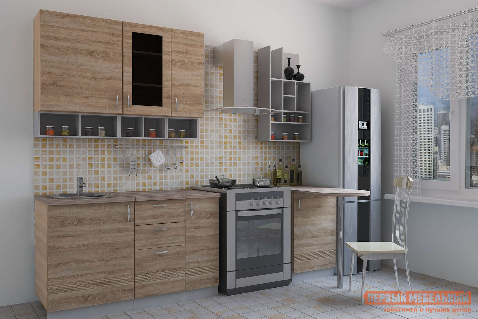Кухонный гарнитур с барной стойкой МО РОСТ Тоскана 6 (sesto)