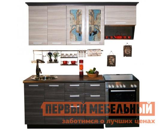 Кухонный гарнитур МО РОСТ Венеция 2 Серый глянец / Ясень бежевый глянец / Венге, Левый