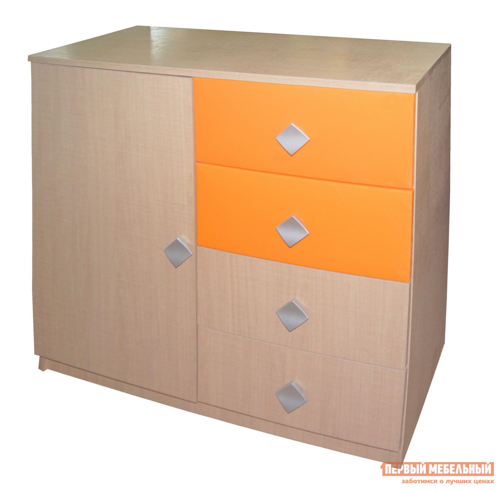 Комод детский  Жили-были Мадейра / Оранжевый глянец