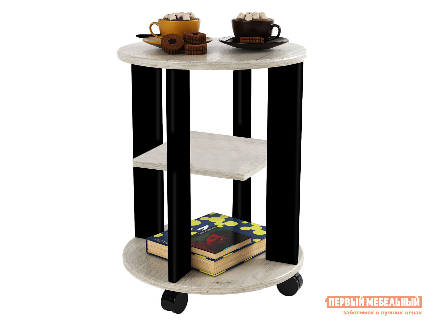 Деревянный сервировочный столик на колесиках МО РОСТ Стол кофейный Премьера