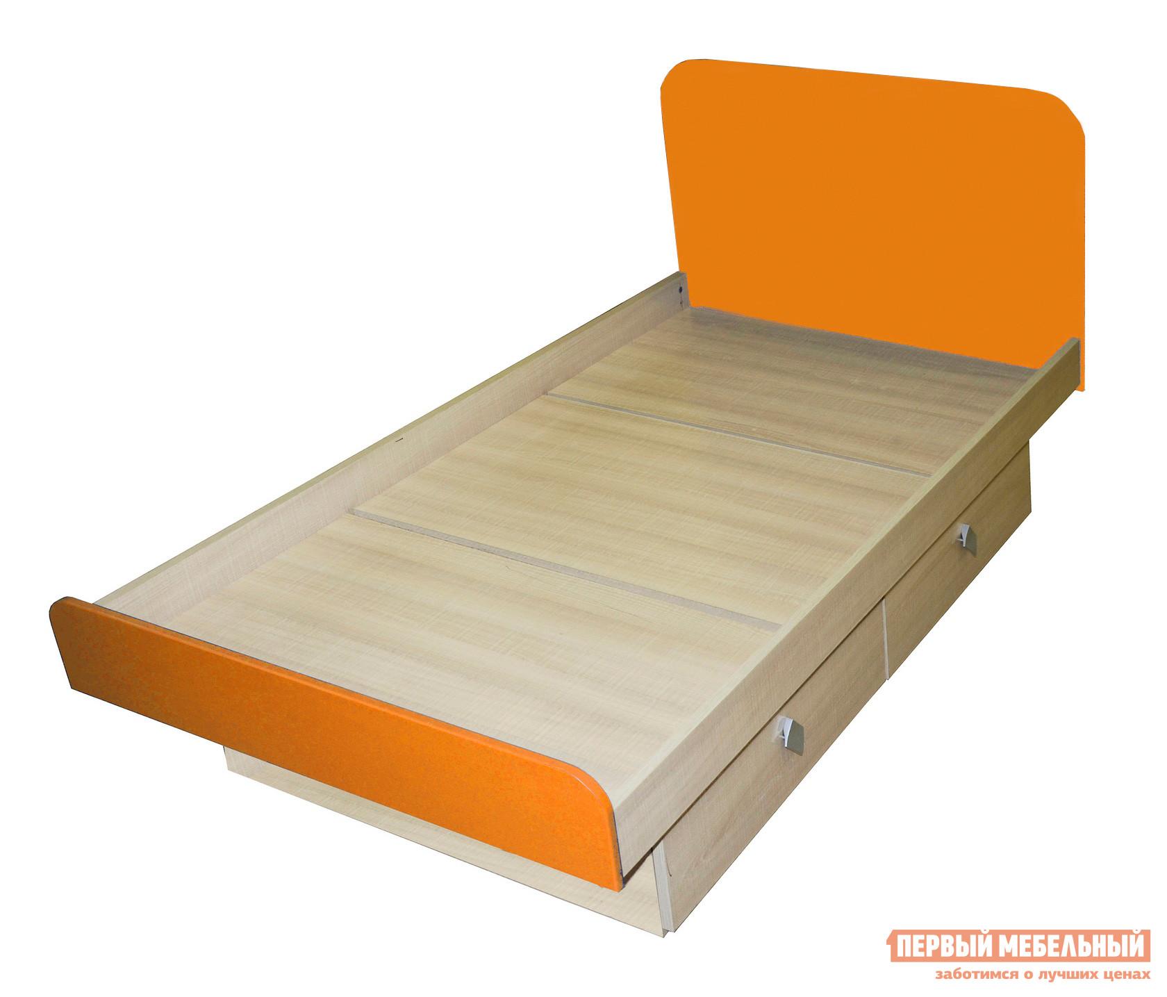 Детская кровать МО РОСТ Жили-были Мадейра / Оранжевый глянец, Без матраса