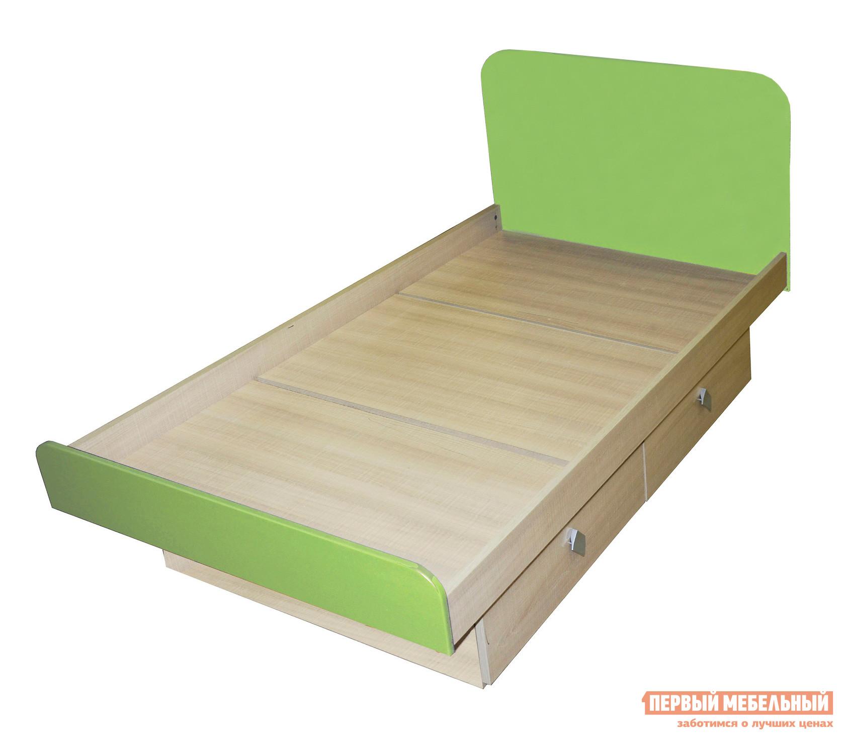 Детская кровать МО РОСТ Жили-были Мадейра / Зеленый глянец, Без матраса