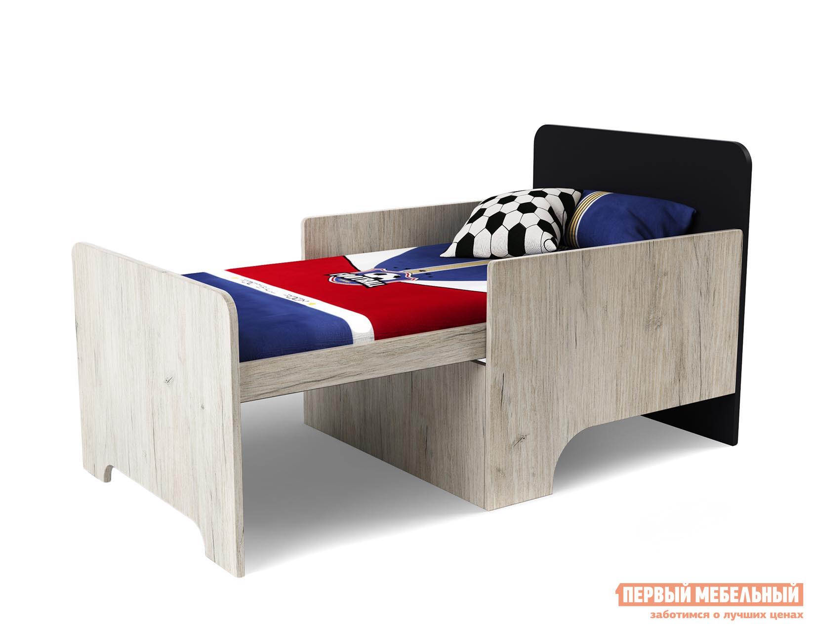 Кровать МО РОСТ Кровать вырастайка  Премьера Пикард / ЧерныйОдноэтажные кровати<br>Габаритные размеры ВхШхГ 660x684x1232 / 1632 мм. Современная и лаконичная кровать для юных непосед будет расти вместе со своим обладателем. Оригинальное исполнение модели с раннего возраста привьет чувство стиля, а удобный матрас, который входит в комплект, подарит только самые приятные сновидения. Обратите внимание! Подушки в комплект не входят. Материал изготовления — ЛДСП.<br><br>Цвет: Темное-cветлое дерево<br>Высота мм: 660<br>Ширина мм: 684<br>Глубина мм: 1232 / 1632<br>Кол-во упаковок: 2<br>Форма поставки: В разобранном виде<br>Срок гарантии: 1 год<br>С бортиками: Да<br>С матрасом: Да<br>Возраст: От 3-х лет<br>Пол: Для мальчиков