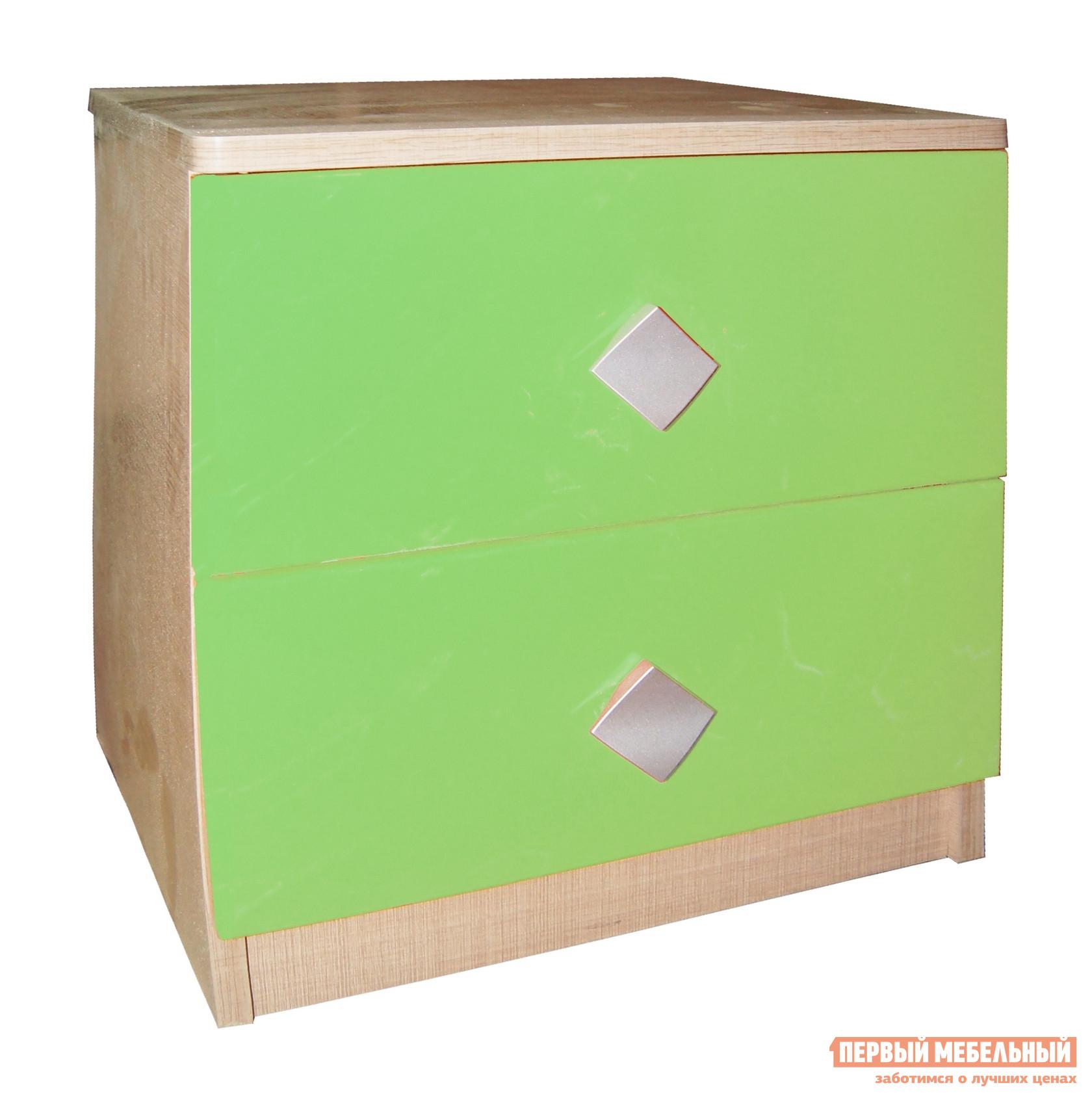 Прикроватная тумбочка МО РОСТ Жили-были Мадейра / Зеленый глянецПрикроватные тумбочки<br>Габаритные размеры ВхШхГ 400x456x350 мм. Небольшая прикроватная тумба — прекрасное дополнение к кровати.  Модель имеет два выдвижных ящика для разных мелочей, а на столешнице можно расставить нужные под рукой мелочи. Тумба изготавливается из ЛДСП.<br><br>Цвет: Зеленый<br>Высота мм: 400<br>Ширина мм: 456<br>Глубина мм: 350<br>Кол-во упаковок: 2<br>Форма поставки: В разобранном виде<br>Срок гарантии: 1 год<br>Материал: Дерево<br>Материал: ЛДСП<br>2 ящика: Да