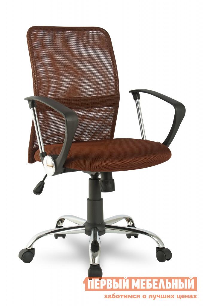Офисное кресло College H-8078F-5 КоричневыйОфисные кресла<br>Габаритные размеры ВхШхГ 930 / 1030x580x580 мм. Стильное и практичное компьютерное кресло.  Эргономичная конструкция поможет поддержать позвоночник в здоровом положении.  Сетчатая спинка позволяет воздуху свободно циркулировать. Кресло оборудовано механизмом качания Топ-ган с регулировкой под вес сидящего и фиксацией спинки в вертикальном положении. Высота сидения регулируется при помощи газлифта от 45 до 55 см;Ширина сидения — 45 см;Глубина сидения — 46 см. Обивка выполнена из износоустойчивого акрила со вставками из кожи PU.  Такое покрытие придает коже дополнительную мягкость, эластичность и износоустойчивость. Подлокотники — ударопрочный пластик с хромированными вставками. Крестовина изготовлена из хромированного металла. Кресло рассчитано на максимальный вес 120 кг. Диаметр отверстий под колесики составляет 11 мм.<br><br>Цвет: Коричневый<br>Цвет: Коричневый<br>Высота мм: 930 / 1030<br>Ширина мм: 580<br>Глубина мм: 580<br>Кол-во упаковок: 1<br>Форма поставки: В разобранном виде<br>Срок гарантии: 18 месяцев<br>Тип: До 80 кг, До 100 кг, До 120 кг<br>Материал: С сетчатой спинкой<br>Особенности: Эргономичные, С подлокотниками, На колесиках, С хромированной крестовиной