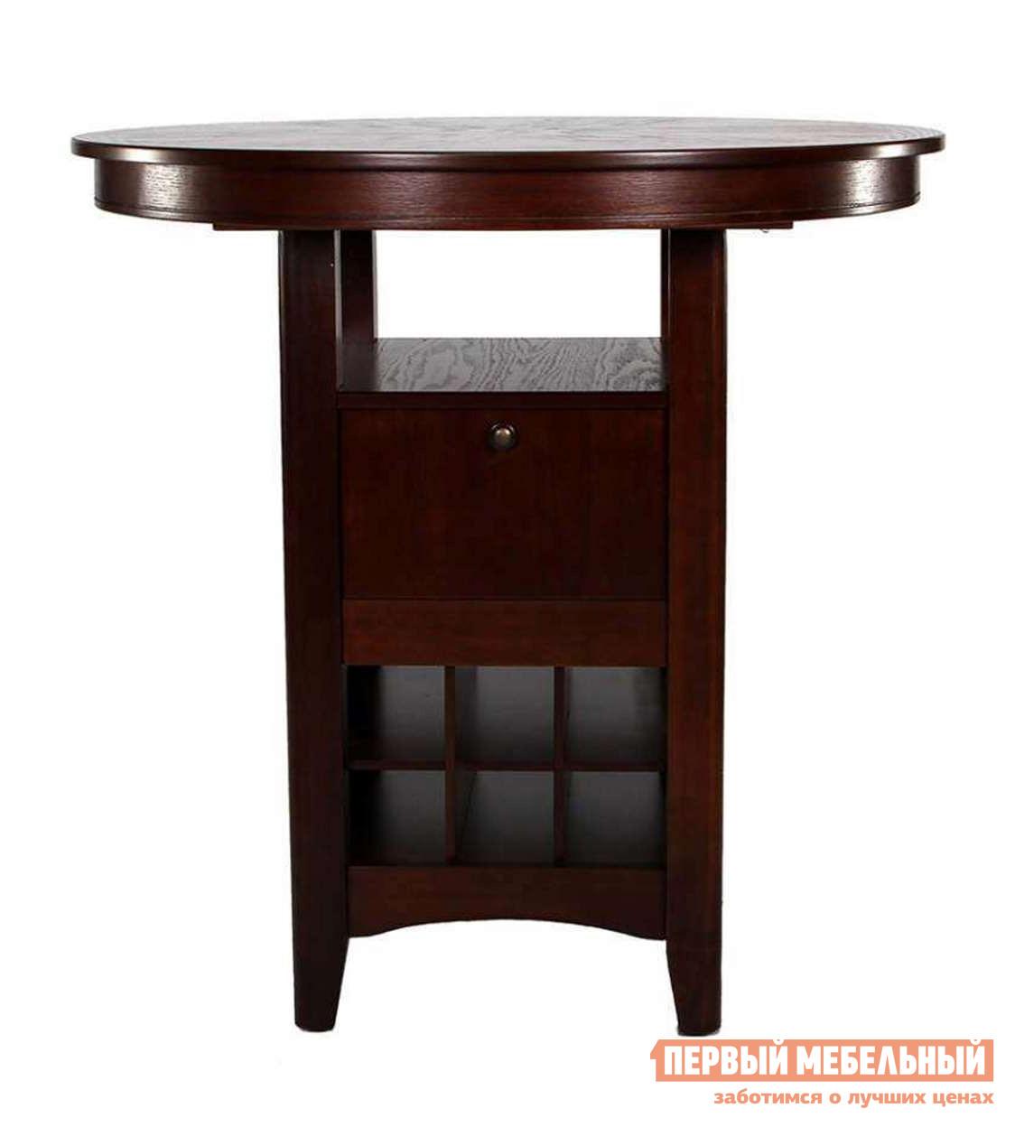 Барный стол МИК Мебель MK-1106-HG Темный орехБарные столы<br>Габаритные размеры ВхШхГ 1080x1070x1070 мм. Стильный высокий обеденный стол.  Материал исполнения — натуральное дерево и темный насыщенный оттенок стола наполнят уютом и теплом комнату.  Такой стол — прекрасное дополнение как в квартире, так и в загородном доме. Стол функционален: под столешницей располагается полочка, закрытый шкафчик и ниши для бутылок.  Отличный элемент для барной зоны. Изготавливается из массива гевеи.<br><br>Цвет: Темный орех<br>Цвет: Венге<br>Высота мм: 1080<br>Ширина мм: 1070<br>Глубина мм: 1070<br>Форма поставки: В разобранном виде<br>Срок гарантии: 12 месяцев<br>Материал: Из натурального дерева<br>Особенности: С ящиками