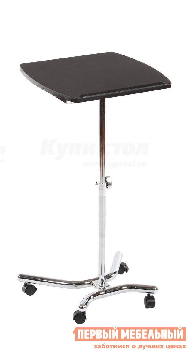 Столик для ноутбука МИК Мебель MK-2351 ХромСтолики для ноутбука<br>Габаритные размеры ВхШхГ 690 / 900x470x390 мм. Компактный мобильный столик для ноутбука.  Имеет возможность поворота на 45 градусов. Столешница имеет удобный ограничитель высотой 1,5 см. Столик оснащен колесиками для более удобного перемещения по комнате. Размер столешницы (ШхГ): 390 х 470 мм.<br><br>Цвет: Хром<br>Цвет: Серый<br>Высота мм: 690 / 900<br>Ширина мм: 470<br>Глубина мм: 390<br>Форма поставки: В разобранном виде<br>Срок гарантии: 12 месяцев<br>Особенности: На колесиках, С одной ножкой, Для работы стоя
