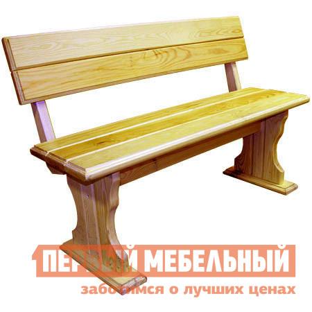 Скамейка МФДМ Уют (лак) Скамья деревянная со спинкой Массив сосны (лак), Сиденье 1200 Х 330 мм