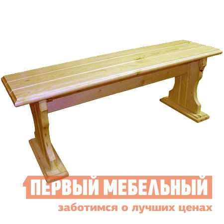 Скамейка МФДМ Уют (лак) Скамья деревянная без спинки Массив сосны (лак), Сиденье 1450 Х 330 мм