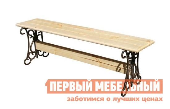Скамейка МФДМ Скамья кованая (без спинки) Лира Массив сосны (лак), Сиденье 1450 Х 405 мм