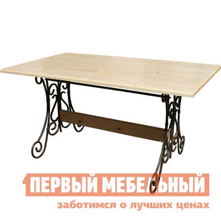 Садовый стол МФДМ Стол кованый Лира Массив сосны (лак), Столешница 1950 Х 800 мм