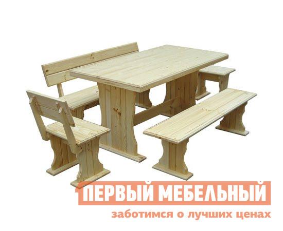 Комплект садовой мебели МФДМ Уют (лак) К1 Массив сосны (лак)Комплекты садовой мебели<br>Габаритные размеры ВхШхГ xx мм. Прочный и надежный комплект мебели для дачи из массива сосны.  Традиционный стиль придется по вкусу ценителям деревенских мотивов и натуральных материалов. В набор входят:Стол (ВхШхГ): 770 х 1450 х 800 мм. Табурет (ВхШхГ): 430 х 450 х 330 мм. Стул (ВхШхГ): 760 х 450 х 330 мм. Скамья со спинкой (ВхШхГ): 760 х 1450 х 330 мм. Скамья без спинки (ВхШхГ): 430 х 1450 х 330 мм. Массив сосны тщательно обработан и покрыт водостойким лаком, все углы скруглены.<br><br>Цвет: Светлое дерево<br>Кол-во упаковок: 5<br>Форма поставки: В разобранном виде<br>Срок гарантии: 12 месяцев<br>Тип: С обеденным столом<br>Тип: С лавками<br>Материал: Массив дерева<br>Порода дерева: Сосна<br>Вместимость: На 5 и более персон