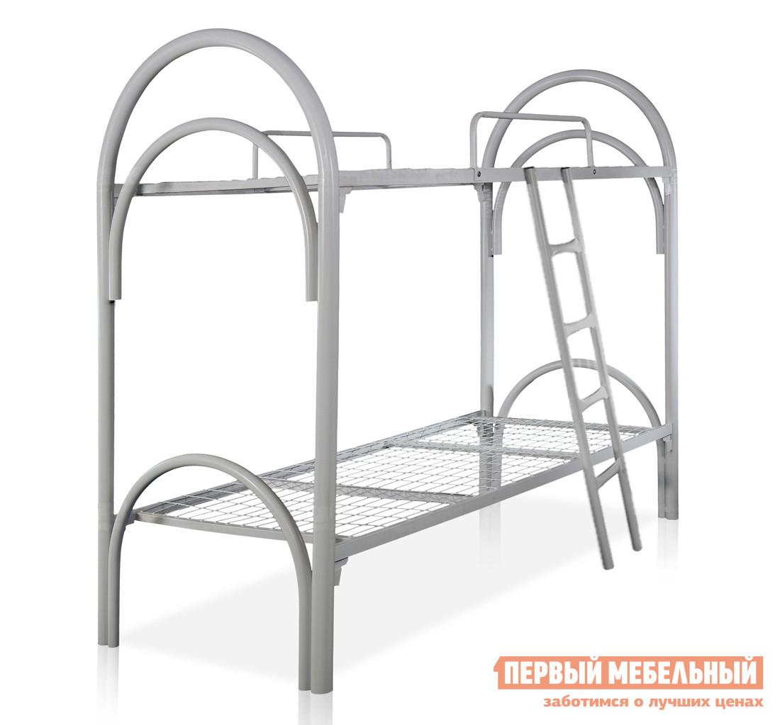 Металлическая кровать Метмебель КМ22 СерыйМеталлические кровати<br>Габаритные размеры ВхШхГ 1795x2002x852 мм. Металлическая двухъярусная кровать.  Модель оснащена лесенкой для легкого и удобного подъема на второй этаж.  Для дополнительной безопасности верхний ярус дополнен бортиками. Размер спального места: 800 х 1900 мм; Высота от пола до нижнего яруса — 380 мм; Высота от пола до верхнего яруса — 1330 мм.  Спинка выполнена из металлической трубы диаметром 38 и 51 мм.  Каркас из профильной трубы 20х40 мм и 25х25 мм.  Основание представляет собой сетку с крупными ячейками.  Крепление деталей выполнено при помощи клин-петли.  Все детали обработаны защитным порошковым полимерным покрытием.<br><br>Цвет: Серый<br>Цвет: Серый<br>Высота мм: 1795<br>Ширина мм: 2002<br>Глубина мм: 852<br>Форма поставки: В разобранном виде<br>Срок гарантии: 12 месяцев<br>Тип: Двухъярусные<br>Назначение: Для подростков<br>Материал: Металлические<br>Размер: Спальное место 80х190 см<br>Особенности: С сеткой<br>Пол: Для девочек, Для мальчиков