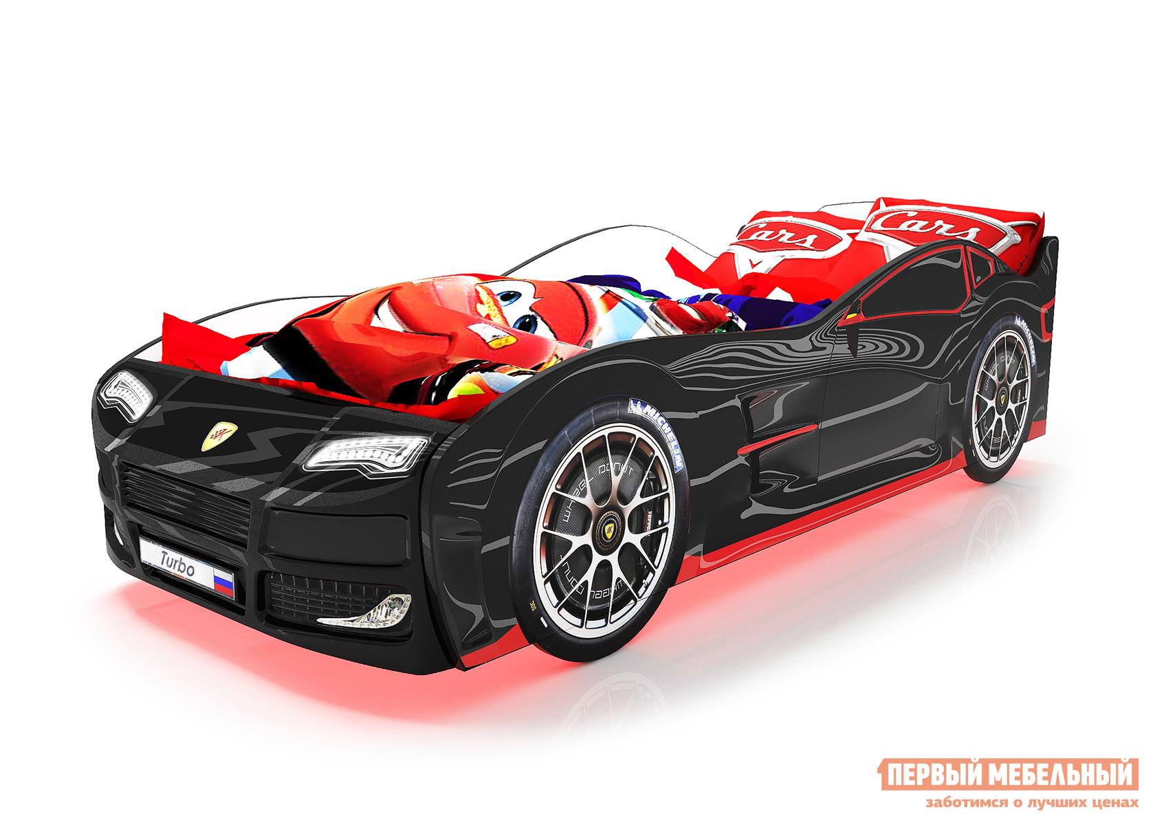 Кровать-машина Турбо с ПМ Черный (Турбо), Без подсветки фото