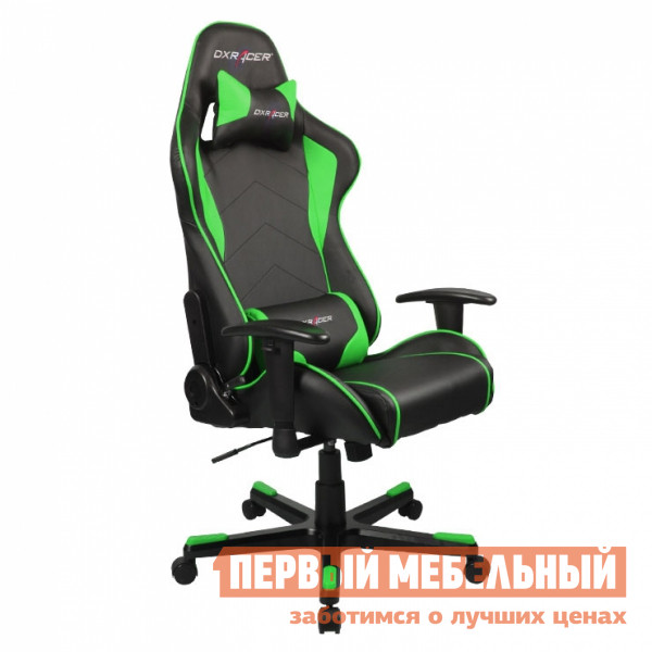 Компьютерное кресло DxRacer OH/FE08 Черный / Зеленый DxRacer Габаритные размеры ВхШхГ 1270 / 1346x686x530 мм. Кресла DXRacer OH/FE08 серии Formula предназначены для киберспортсменов, участвующих в виртуальных гонках.  <br>Если вы фанат спортивных авто и непревзойденного комфорта, то это кресло идеально подойдет для вас.  Эргономичная форма была создана специально для профессиональных геймеров, проводящих много часов подряд за игрой не меняя положения.  Кресло подойдет также и для любого человека, который ценит удобство при работе за компьютером. <br>DXRacer OH/FE08 имеет высокую боковую поддержку, анатомически правильные изгибы и множество регулировок, которые обеспечат стопроцентный комфорт.  Данная модель отлично подойдет людям среднего роста, в том числе девушкам и подросткам. <br><br>Подлокотники регулируются по высоте;<br>Высота сиденья регулируется от 370 до 450 мм;<br>Механизм качания Топ-Ган;<br>Наклон сиденья слитно со спинкой в пределах 12 градусов;<br>Газлифт-механизм высокого качества;<br>Спинка отклоняется в пределах 170 градусов;<br>В комплекте подушки под голову и поясницу;<br>Крестовина: алюминий;<br>Обивка: полиуретановая искусственная кожа;<br>Наполнение: пена высокой плотности;<br>Прорезиненные ролики со стопперами. <br>Рекомендуемый рост сидящего: 170-180 см. <br>Максимальная нагрузка: 120 кг. <br><br>