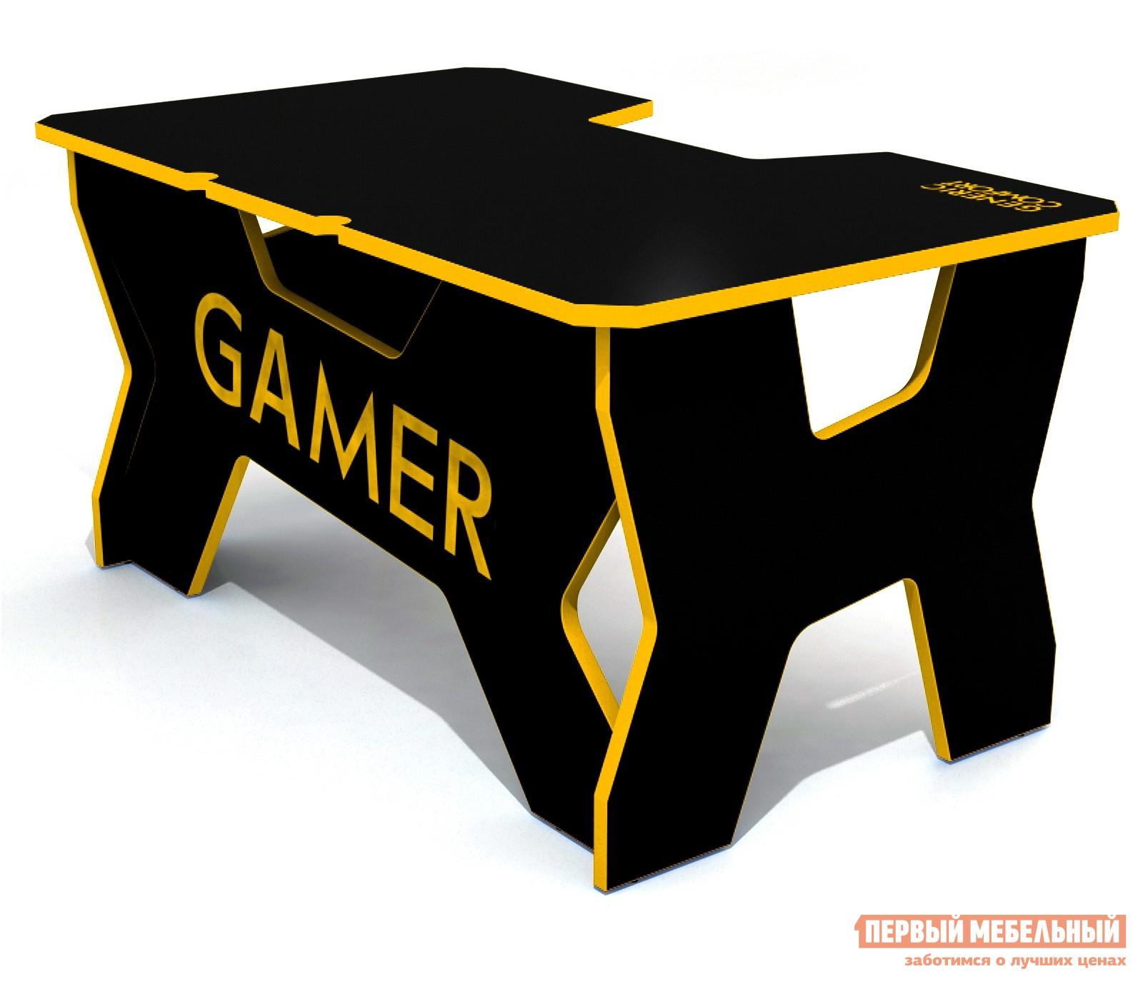 Компьютерный стол DxRacer Generic Comfort Gamer2/N Черный / ЖелтыйКомпьютерные столы<br>Габаритные размеры ВхШхГ 750x1500x900 мм. Стол Дженерик Комфорт 2 разработан специально для людей проводящих много часов перед монитором.  Модель изготавливается в нескольких цветовых вариантах, что позволяет подобрать стол, подходящий к креслу и другим игровым девайсам. Столешница размером 1500 х 900 мм позволит разместить большой монитор, технику и оборудование.  Ниша в форме трапеции позволяет положить локти, благодаря чему руки не будут уставать от долгого пребывания за столом.  Размер ниши: глубина 20 см, ширина у переднего края 55 см, ширина внутренняя — 40 см. Округлые вырезы на задней части столешницы сделаны для удобства размещения проводов.  А вырез на задней стенке позволят расслабиться и отдохнуть, вытянув ноги вперед. Изделие выполняется из ЛДСП толщиной 25 мм.  Надежная конструкция позволяет столу Generic Comfort Gamer2/N выдерживать нагрузку до 120 кг.  Все детали обработаны специальным покрытием, устойчивым к влаге и механическим повреждениям.<br><br>Цвет: Черный<br>Цвет: Желтый<br>Высота мм: 750<br>Ширина мм: 1500<br>Глубина мм: 900<br>Кол-во упаковок: 1<br>Форма поставки: В разобранном виде<br>Срок гарантии: 2 года<br>Тип: Прямые<br>Материал: Дерево<br>Материал: ЛДСП<br>Размер: Большие<br>Размер: Ширина 150 см<br>Без надстройки: Да<br>Стиль: Хай-тек