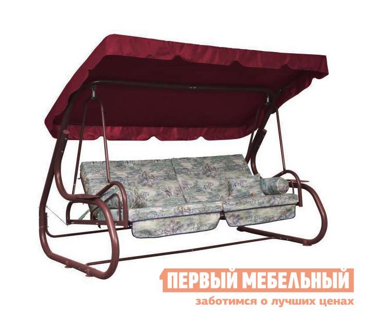 Качели Рестол Титан РС БордовыйСадовые качели<br>Габаритные размеры ВхШхГ 1600x2540x1700 мм. Если у вас большая семья и с самой весны выходные вы проводите с детьми на даче, то качели Титан РС понравятся вам своей функциональностью и вместительностью.  Модель имеет широкое сиденье с размером посадочной части 2050 мм, то есть на диване с комфортом поместиться четверо взрослых, а детей и того больше, шестеро точно.  Качели особенно придутся по душе тем, кто любит вздремнуть на свежем воздухе после вкусного домашнего обеда: для этого в качелях предусмотрен легкий в обращении механизм, позволяющий разложить диван в полноценную кровать.  В комплекте к качелям вы найдете четыре дополнительные подушки: две квадратные и два валика, чтобы ваш отдых был максимально удобным.  От жаркого солнца или неожиданного дождя в модели предусмотрен большой плотный тент с размерами 2540 х 1460 мм.  По бокам дивана предусмотрены подставки с углублением для стаканчика с прохладным напитком или свежими ягодами.  Дугообразный каркас из металлической трубы диаметром 60 мм делает всю конструкцию качелей устойчивой и безопасной, их можно ставить и на мягкую поверхность, и на твердую.  Основание для дивана сделано в виде металлической сетки, которая соединяется с каркасом пружинами.  Обивка дивана — плотные тканевые съемные чехлы, которые при необходимости можно снять и освежить.  Наполнение в диване и подушках — холлофайбер.  Вся конструкция выдерживает до 450 кг.  Обращаем ваше внимание, что цвет обивки дивана и подушек может отличаться от изображения.<br><br>Цвет: Красный<br>Высота мм: 1600<br>Ширина мм: 2540<br>Глубина мм: 1700<br>Кол-во упаковок: 2<br>Форма поставки: В разобранном виде<br>Срок гарантии: 1 год<br>Тип: Раскладные<br>Тип: Трансформер<br>Материал: Металл<br>Материал: Ткань<br>Размер: Четырехместные<br>С подушкой: Да<br>С подстаканником: Да