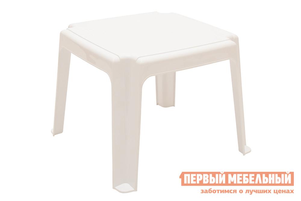 Пластиковый табурет Отдых с комфортом Табурет-столик для лежака белый размер 40х 40х 38 ЭЛП Белый