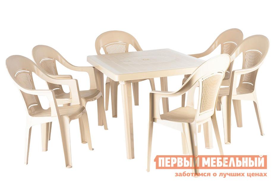 Набор пластиковой мебели ЭЛП Стол прямоугольный + Кресло «Венеция», 6 шт. Бежевый