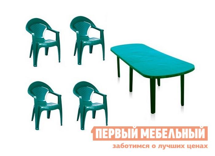 Набор пластиковой мебели Отдых с комфортом Стол овальный Комби со вставкой + Кресло Барселона, 4 шт БолотныйНаборы пластиковой мебели<br>Габаритные размеры ВхШхГ 710x1800 / 2500x900 мм. Набор пластиковой мебели Комби+Барселона, 4 шт выполнен в болотном цвете и поэтому гармоничен для размещения на летней лужайке.  Комплект состоит их большого стола и четырех кресел. Стол имеет размер (ВхШхГ): 710 х 1800 х 900 мм.  В комплектацию к нему входит вставка 700 х 900 мм, которая позволяет увеличить столешницу до размеров 2500 х 900 мм.  Углы стола Комби имеют округлую форму, что более безопасно, чем стандартное исполнение. Кресло имеет габариты (ВхШхГ): 900 х 600 х 600 мм.  Изделия удобно хранить способом штабелирования, то есть вставив одно кресло в другое.  Спинка имеет сетчатую структуру, что обеспечивает перфорацию.  Обтекаемая форма и массивные подлокотники позволят вам расслабиться и комфортно провести время. Кресла поставляются сразу в собранном виде.  Стол разобранный — для начала эксплуатации необходимо только вставить ножки в столешницу.  Вставку можно устанавливать по необходимости.  В остальное время она хранится отдельно.<br><br>Цвет: Зеленый<br>Высота мм: 710<br>Ширина мм: 1800 / 2500<br>Глубина мм: 900<br>Кол-во упаковок: 6<br>Форма поставки: В разобранном виде<br>Срок гарантии: 3 месяца<br>Тип: На 4 персоны