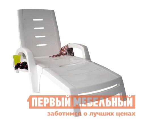 Шезлонг Стандарт Пластик Шезлонг складной на колесах (с ящиком) (1860x765x890 мм) Белый от Купистол