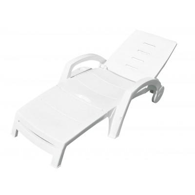 Шезлонг Стандарт Пластик Шезлонг складной на колесах (с ящиком) (1860x765x890 мм) Белый