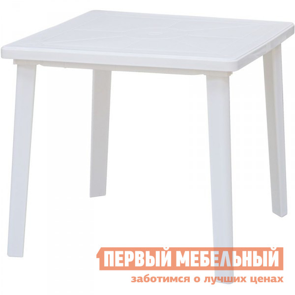 Пластиковый стол Отдых с комфортом Стол квадратный 80*80 СП Белый