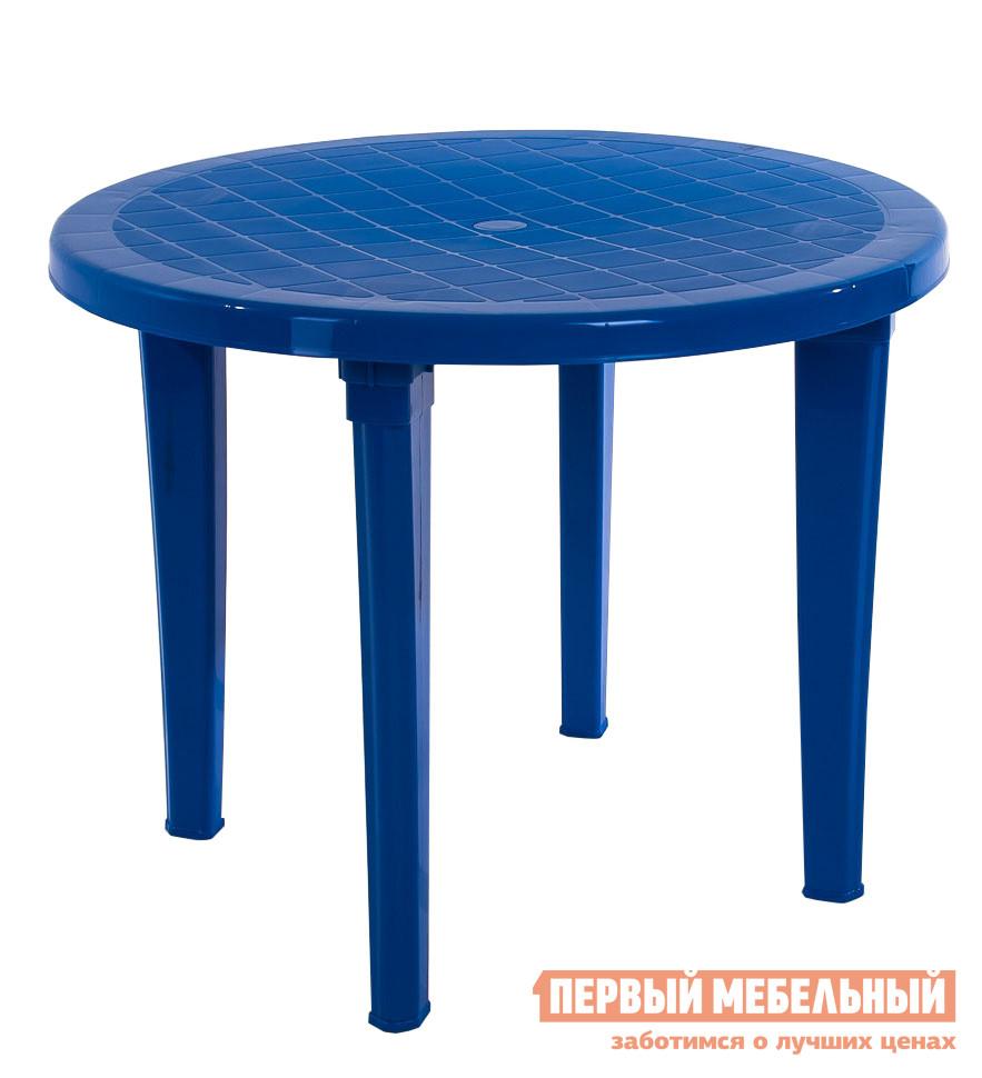Пластиковый стол ЭЛП Стол круглый СинийПластиковые столы<br>Габаритные размеры ВхШхГ 740x950x950 мм. Пластиковый круглый стол.  Такая форма позволяет рассадить за столом больше людей, чем, например, за прямоугольным столом. Диаметр столешницы – 950 мм.  Модель — легкая, неприхотлива в использовании.  Подойдет для дачных участков, отдыха на природе и летних кафе на открытом воздухе.<br><br>Цвет: Синий<br>Цвет: Синий<br>Высота мм: 740<br>Ширина мм: 950<br>Глубина мм: 950<br>Кол-во упаковок: 1<br>Форма поставки: В разобранном виде<br>Срок гарантии: 1 год<br>Форма: Круглые<br>Размер: Большие<br>Особенности: Дешевые