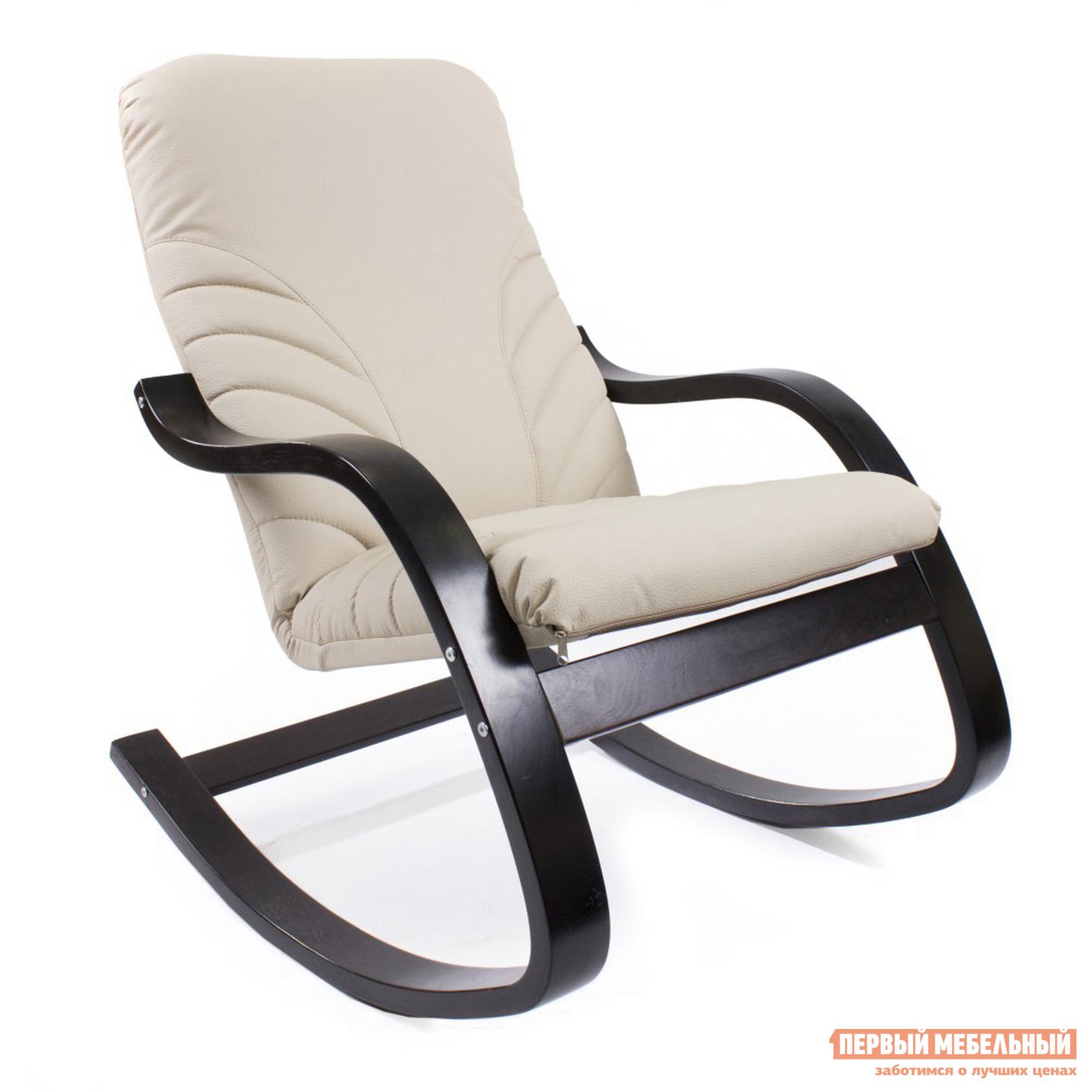 Кресло-качалка Грин Три Кресло качалка ЭЙР Венге, Экокожа Крем