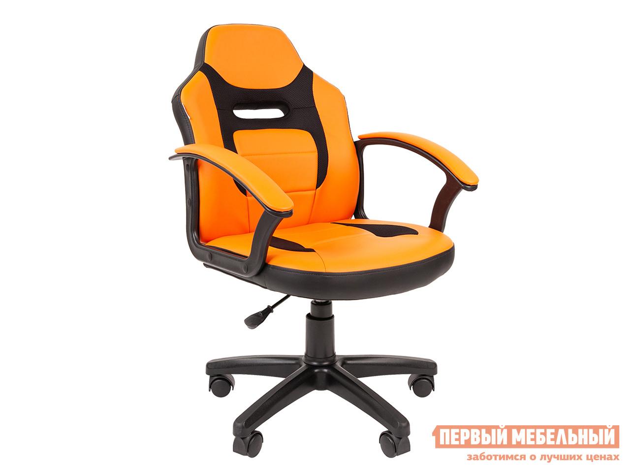 Детское компьютерное кресло  Детское компьютерное кресло CHAIRMAN KIDS 110 Ткань ТW / Экокожа черный / Оранжевый фото