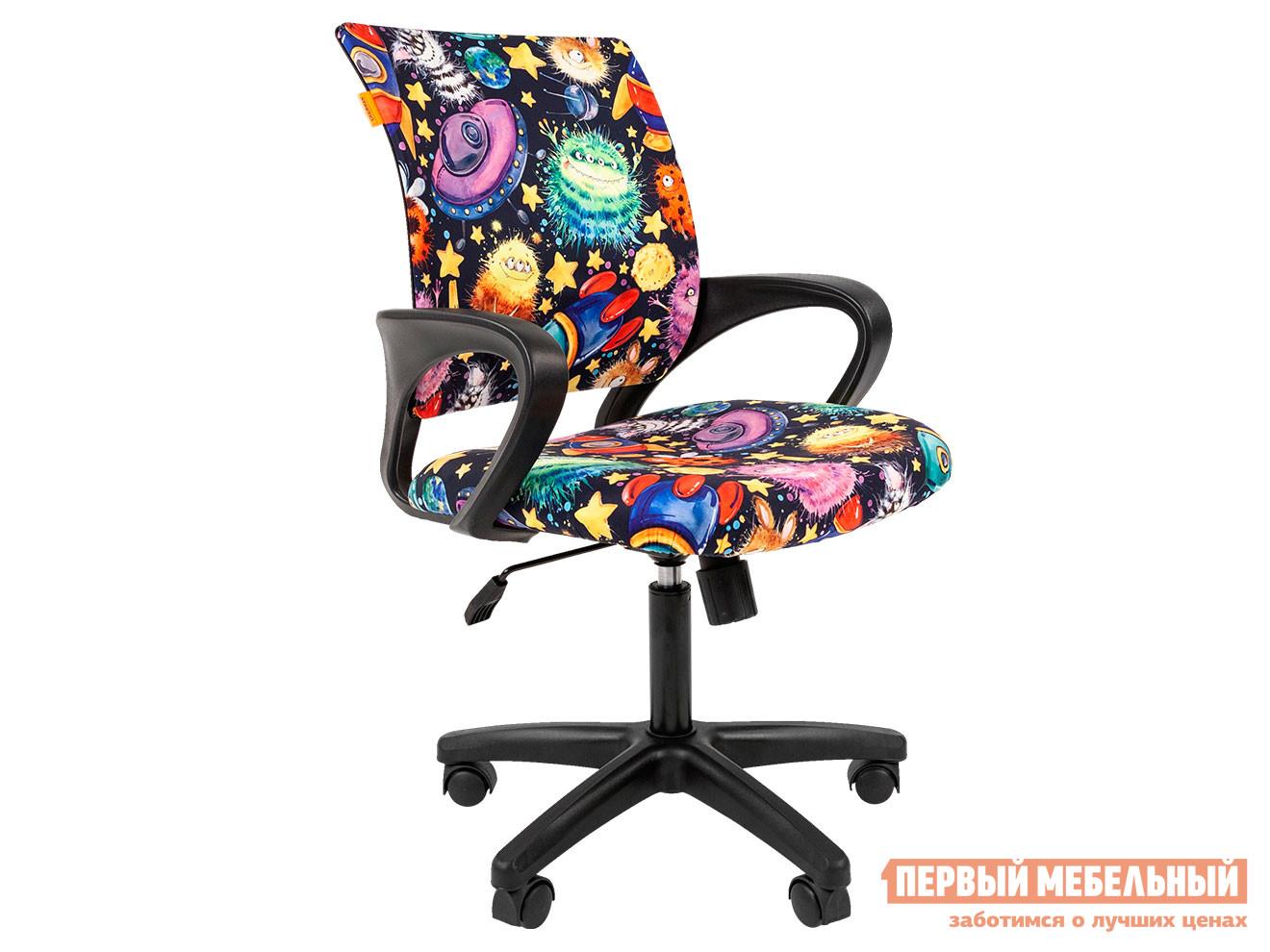 Детское компьютерное кресло  CHAIRMAN KIDS 103 BLACK НЛО, велюр