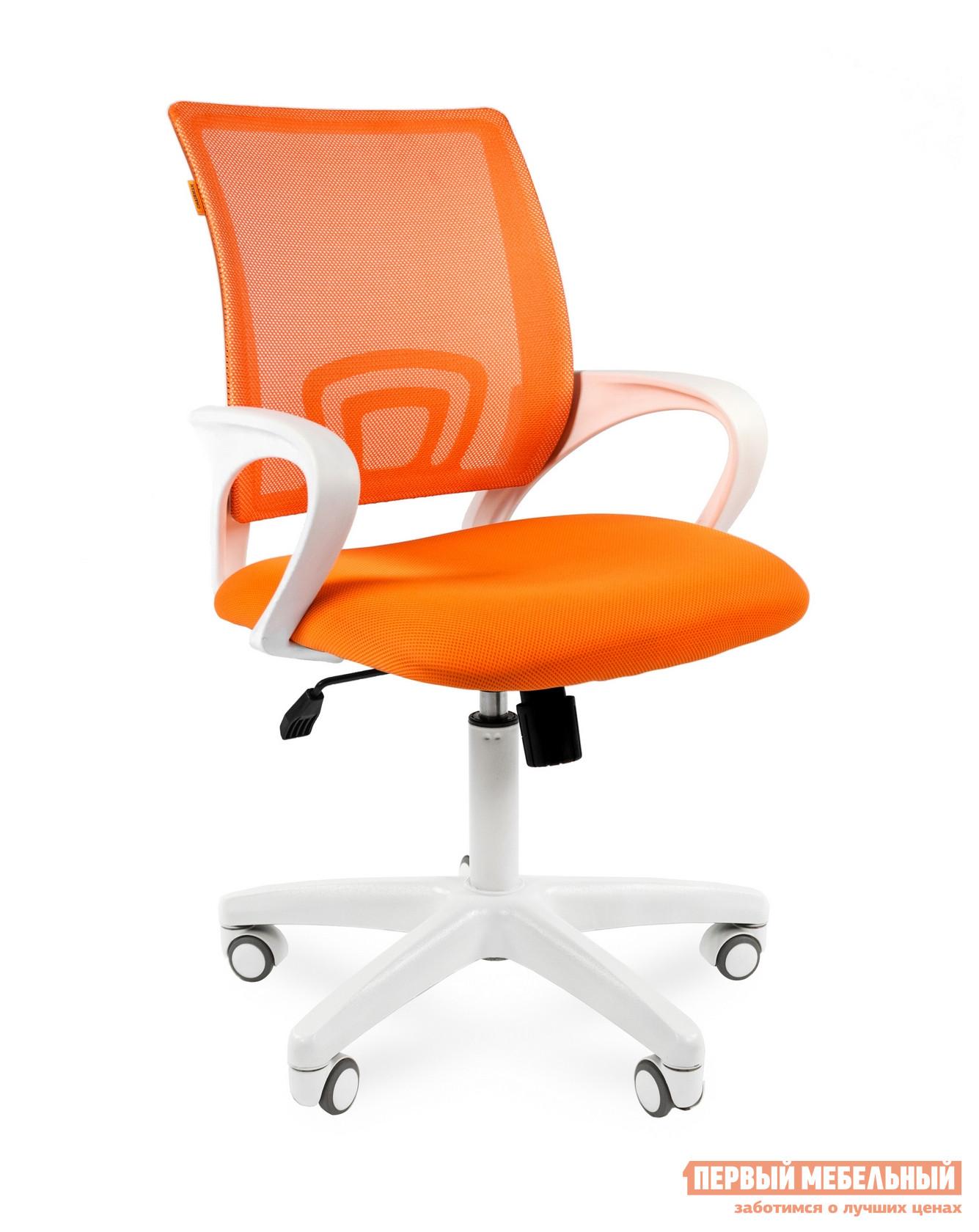 Кресло для офиса Chairman CH 696 white Ткань TW-16 / Сетка TW-66 оранжевый от Купистол