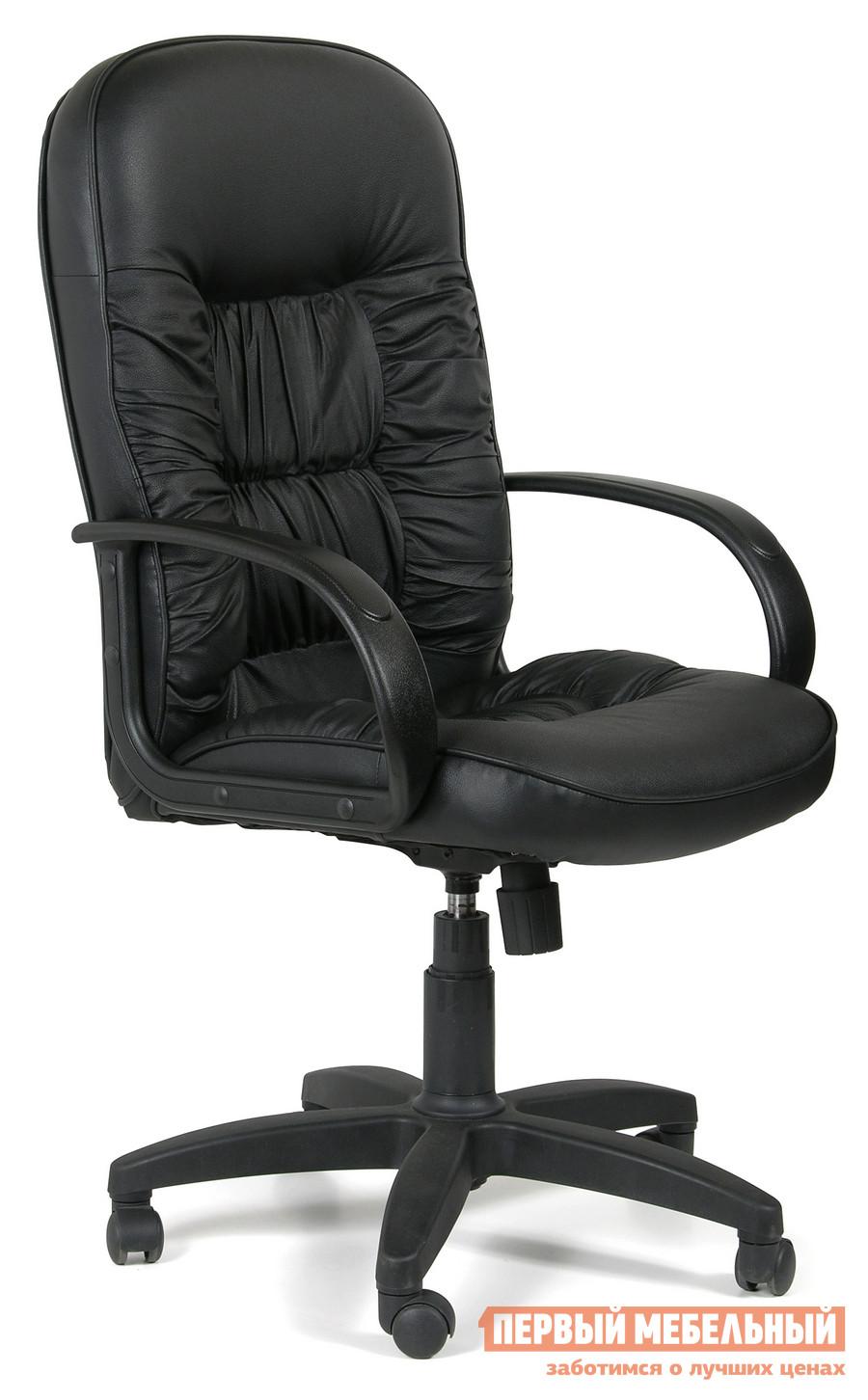 Кресло руководителя Chairman CH 416 Эко-кожа черная матоваяКресла руководителя<br>Габаритные размеры ВхШхГ 1100 / 1190x650x500 мм. Функциональное, удобное и привлекательное по цене офисное черное кресло Chairman CH 416 для настоящих руководителей.  Офисное кресло регулируется по высоте.  Подлокотники имеют удобную анатомическую форму.  Материал, из которого изготовлено кресло Chairman, отличается своей долговечностью и привлекательным внешним видом. Наполнение: Стандартный (standart) поролон плотности 25-40 кг/м3Металлические подлокотники с накладками из пластика;Механизм качания с фиксацией кресла в рабочем положении;Крестовина модели CH 416 из черного пластика;Газпатрон 3 категории по стандарту Germany DIN 4550;Ролик стандарта BIFMA 5,1 (США); диаметр штока 11 мм, материал - полиамид;Максимальная нагрузка: 120 кг;Цвет модели — черный.<br><br>Цвет: Черный<br>Высота мм: 1100 / 1190<br>Ширина мм: 650<br>Глубина мм: 500<br>Кол-во упаковок: 1<br>Форма поставки: В разобранном виде<br>Срок гарантии: 12 месяцев<br>Тип: До 80 кг<br>Тип: До 100 кг<br>Тип: До 120 кг<br>Тип: Регулируемые по высоте<br>Назначение: Для дома<br>Материал: Кожа<br>Материал: Искусственная кожа<br>С подлокотниками: Да<br>С мягким сиденьем: Да<br>Пластиковая крестовина: Да<br>С откидной спинкой: Да