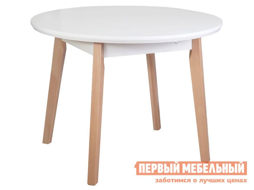 Кухонный стол  Стол OSLO 4, 100(130)*100*75 Бук / Белый