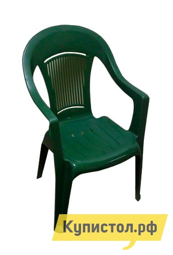 Пластиковый стул ЭЛП Кресло «Венеция» Темно-зеленыйПластиковые стулья<br>Габаритные размеры ВхШхГ 910x550x410 мм. Пластиковый стул тоже может быть элегантным, и кресло «Венеция» тому доказательство.  Покатая спинка, аккуратные подлокотники и удобное сиденье делают модель изящной и гармоничной деталью для обустройства зоны отдыха на веранде, в саду вашего загородного участка или на лоджии квартиры.  Глубокое сиденье и перфорированная спинка, пропускающая воздух, обеспечат комфортный и приятный отдых в таком кресле. Стул выполняется из пластика, легкого, но прочного материала, устойчивого к погодным влияниям и перепадам температур.  Модель весит всего 2,3 кг, вы с легкостью сможете вынести кресло на улицу и, устроившись под любимой яблоней, насладиться свежим воздухом и захватывающей книгой.  Размеры стула составляют 910 х 550 х 410 мм.  Высота от пола до сиденья — 445 мм, ширина и глубина сиденья — 440 мм.  Кресло выдерживает до 120 кг.<br><br>Цвет: Зеленый<br>Высота мм: 910<br>Ширина мм: 550<br>Глубина мм: 410<br>Кол-во упаковок: 1<br>Форма поставки: В собранном виде<br>Срок гарантии: 1 год<br>С подлокотниками: Да