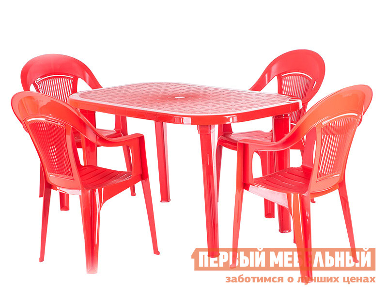 Набор пластиковой мебели ЭЛП Стол овальный + Кресло «Венеция», 4 шт. КрасныйНаборы пластиковой мебели<br>Габаритные размеры ВхШхГ xx мм. Удачный выбор для дачи или веранды летнего кафе — набор пластиковой мебели Стол овальный + Кресло «Венеция», 4 шт.   Благодаря пластику, из которого выполнены стол и кресла, мебель неприхотлива в уходе, устойчива к перепадам погоды и загрязнениям.  Кроме того, мебель из пластика имеет малый вес, стол и кресла можно без труда перемещать из дома в сад, в тень или на солнце.  Большой овальный стол с размерами 740 Х 1380 Х 800 мм будет удобен для маленькой и большой компании.  Четыре кресла в комплекте имеют аккуратные подлокотники и перфорированные спинки, благодаря которым, воздух будет свободно циркулировать по спине и в кресле не будет жарко.  Размеры кресел составляют 910 Х 550 Х 410 мм, максимальная нагрузка на них — 120 кг.  Стол поставляется в разобранном виде, нужно всего лишь ввинтить ножки в столешницу, а стулья уже готовы к использованию.  На зимний период, мебель удобно хранить в кладовке или в любом свободном углу: стулья можно поставить друг на друга, тем самым они занимают совсем немного места.<br><br>Цвет: Красный<br>Кол-во упаковок: 5<br>Форма поставки: В собранном виде<br>Срок гарантии: 1 год<br>Тип: На 4 персоны
