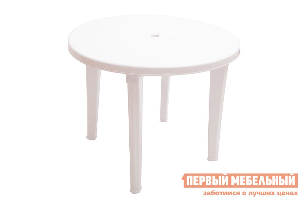 Пластиковый стол ЭЛП Стол круглый БелыйПластиковые столы<br>Габаритные размеры ВхШхГ 740x950x950 мм. Яркий и практичный круглый стол Пинто-2 будет уместен и на даче и в летнем кафе.  Большая столешница диаметром 950 мм позволит расположиться с комфортом всей компанией.  Её круглая форма очень выгодна в этом плане — отсутствие углов играет положительную роль, обеспечивая удобство всем сидящим. Пластик, из которого изготовлен стол, легкий и прочный.  За таким изделием очень легко ухаживать и можно совершенно не беспокоиться о том, что все лето на него будет то светить палящее солнце, то лить дождь, ведь ему совершенно все равно на капризы природы.<br><br>Цвет: Белый<br>Высота мм: 740<br>Ширина мм: 950<br>Глубина мм: 950<br>Кол-во упаковок: 1<br>Форма поставки: В разобранном виде<br>Срок гарантии: 1 год<br>Форма: Круглые<br>Размер: Большие