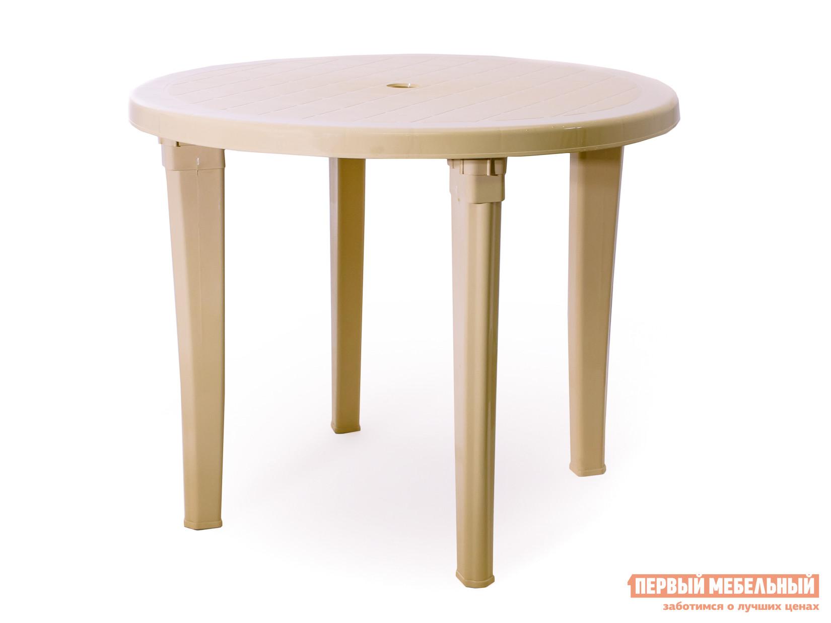 Пластиковый стол ЭЛП Стол круглый БежевыйПластиковые столы<br>Габаритные размеры ВхШхГ 740x950x950 мм. Яркий и практичный круглый стол Пинто-2 будет уместен и на даче и в летнем кафе.  Большая столешница диаметром 950 мм позволит расположиться с комфортом всей компанией.  Её круглая форма очень выгодна в этом плане — отсутствие углов играет положительную роль, обеспечивая удобство всем сидящим. Пластик, из которого изготовлен стол, легкий и прочный.  За таким изделием очень легко ухаживать и можно совершенно не беспокоиться о том, что все лето на него будет то светить палящее солнце, то лить дождь, ведь ему совершенно все равно на капризы природы.<br><br>Цвет: Бежевый<br>Высота мм: 740<br>Ширина мм: 950<br>Глубина мм: 950<br>Кол-во упаковок: 1<br>Форма поставки: В разобранном виде<br>Срок гарантии: 1 год<br>Форма: Круглые<br>Размер: Большие