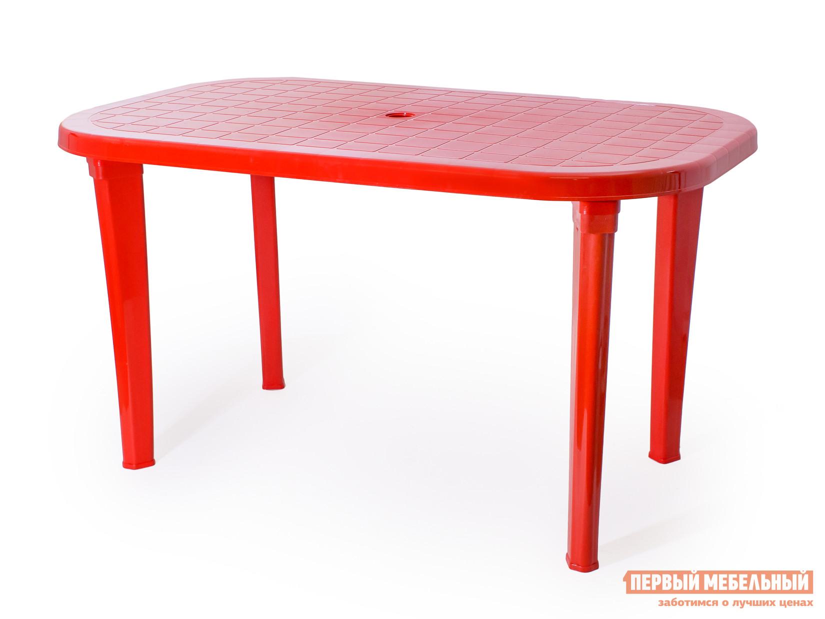 Пластиковый стол ЭЛП Стол овальный КрасныйПластиковые столы<br>Габаритные размеры ВхШхГ 740x1380x800 мм. Пластиковый Стол овальный для семейных посиделок на даче, на веранде или для обустройства уютного кафе для вечерних встреч с друзьями.  Столешница имеет негладкую поверхность, что предотвратит случайное падение посуды и предметов.  За столом будет приятно собраться с близкими и обсудить последние события, поделиться новостями, сыграть в любимую в семье настольную игру. Стол имеет размеры 740 х 1380 х 800 мм и с комфортом уместит шесть человек.  Его легкий вес, всего 7,9 кг, позволяет быстро переместить стол в нужное место.  Изделие выполняется из пластика — прочного и неприхотливого материала, устойчивого к температурным колебаниям и влажности.  Стол поставляется в разобранном виде.  Чтобы его собрать, нужно всего лишь вкрутить ножки в столешницу.  Это занимает считанные минуты.<br><br>Цвет: Красный<br>Высота мм: 740<br>Ширина мм: 1380<br>Глубина мм: 800<br>Кол-во упаковок: 1<br>Форма поставки: В разобранном виде<br>Срок гарантии: 1 год<br>Форма: Овальные<br>Форма: Прямоугольные<br>Размер: Большие