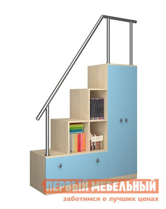 Купить со скидкой Стеллаж в детскую РВ Мебель Лестница стеллаж Астра  Дуб Молочный / Голубой