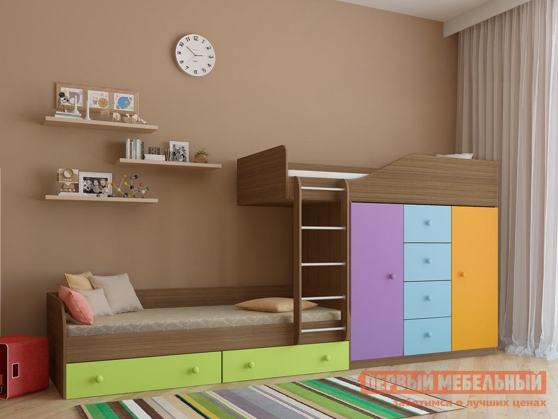 Двухъярусная кровать со шкафом РВ Мебель Астра-6 Дуб Шамони двухъярусная кровать рв мебель лео