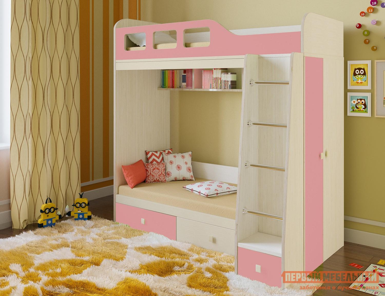купить Детская двухъярусная кровать со шкафом РВ Мебель Астра-3 по цене 17800 рублей
