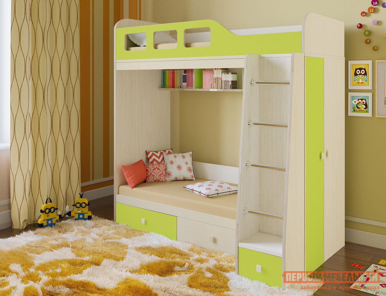 Кровать РВ Мебель Астра-3 Дуб Молочный / Салатовый