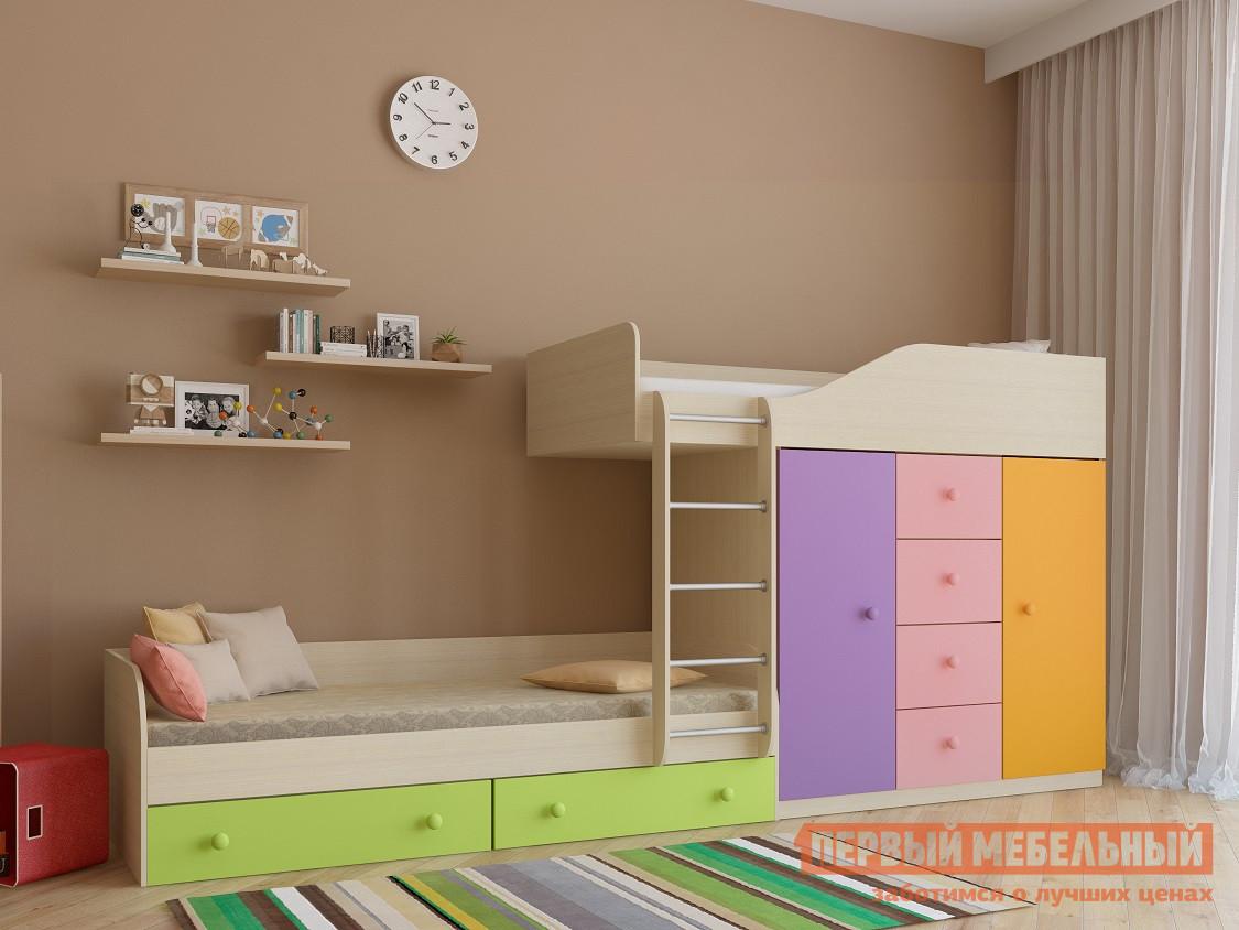 Кровать РВ Мебель Астра-6 Дуб Молочный Дуб Молочный / Мультицвет розовый, Без матрасов РВ Мебель Габаритные размеры ВхШхГ 1551x3332x895 мм. Многофункциональный комплекс в детскую комнату отлично подойдет как для малышей, так и для подростков.  Конструкция изделия позволяет освободить больше места в помещении для активных игр.  Все края имеют безопасные скругления. <br>В составе модуля есть две удобные кровати: одна внизу, вторая на верхнем ярусе.  Под нижним спальным местом располагается два выдвижных ящика для постельных принадлежностей.  Под верхней кроватью продумана система хранения вещей и одежды, состоящая из четырех выдвижных ящиков по центру и двух распашных шкафов: в одном есть полки, во втором — штанга для вешалок. <br>Основание кроватей — настил из ЛДСП. </br>Размеры спальных мест — 800 х 1900 мм. <br>Максимальная нагрузка на верхний ярус составляет 100 кг, а на нижний — 120 кг. <br>Модуль универсальный: его можно собрать как на правую, так и на левую сторону. <br>Обратите внимание! Вы можете выбрать удобный вариант покупки кровати: с матрасами или без них.  Ознакомиться с моделью матраса, который входит в комплект кровати вы можете в разделе «Аксессуары». <br>Изделие производится из ЛДСП толщиной 16 мм.  Края обработаны кромкой ПВХ 0,4 и 2 мм.  Перекладины у лестницы — металл. <br>