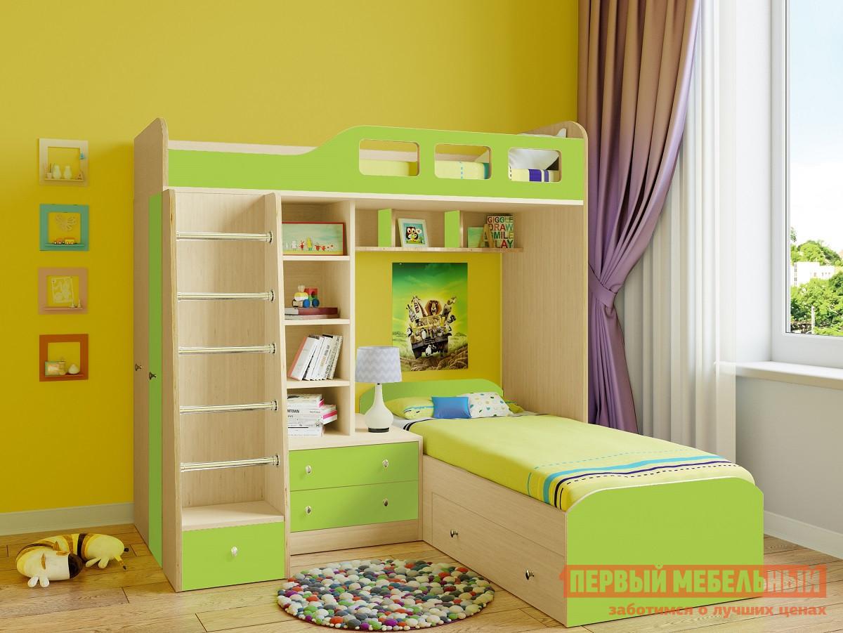 Кровать-чердак РВ Мебель Астра-4 Дуб Молочный Дуб Молочный / Салатовый