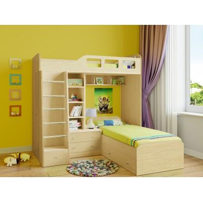 Кровать-чердак РВ Мебель Астра-4 Дуб Молочный Дуб Молочный