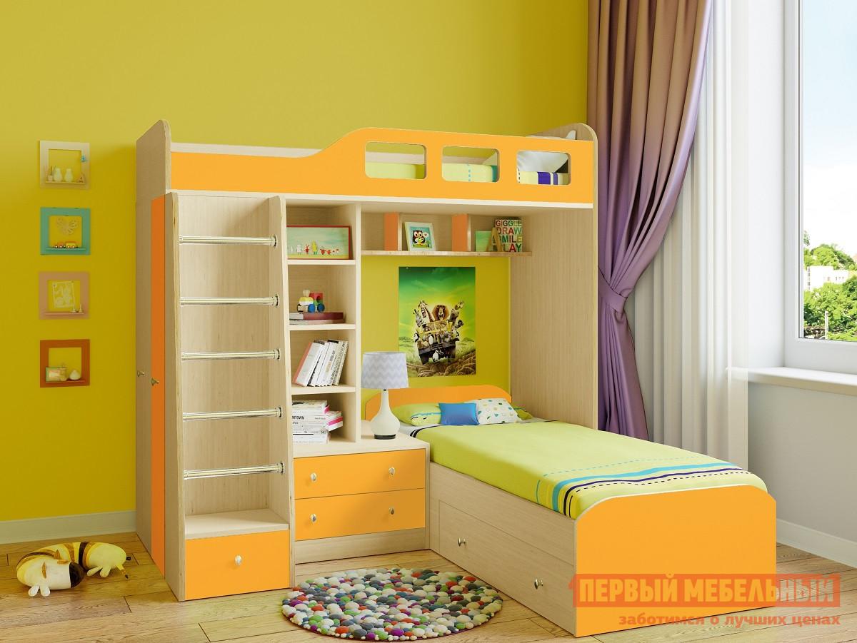 Кровать-чердак РВ Мебель Астра-4 Дуб Молочный Дуб Молочный / Оранжевый, Без матрасов